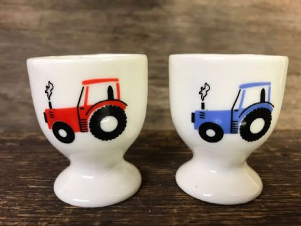 Red & Blue Ceramic Tractor Egg Cups
